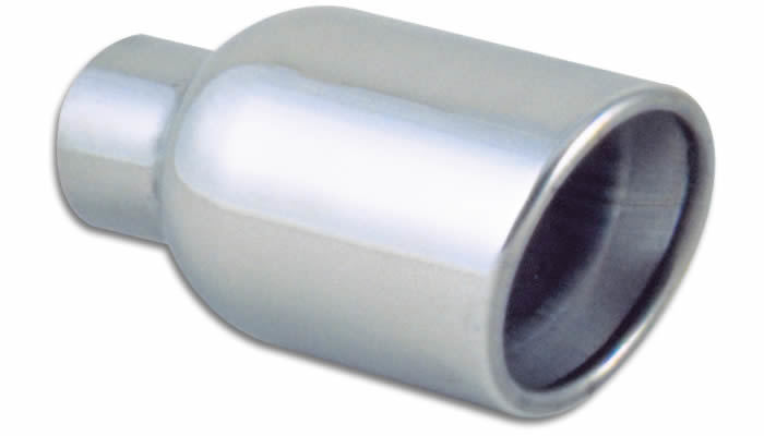 4in Round SS Exhaust Tip (Double Wall Resonated Angle Cut Rolled Edge)