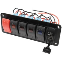 Switch Panel 2 x w/USB, Start & 4 x On/Off Switches